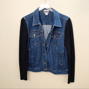 Christopher & Banks Jean Jacket Sweater Arms Sz L